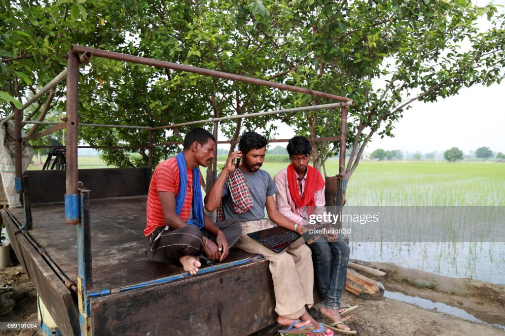 Real people using laptop outdoor in the nature : Stock Photo