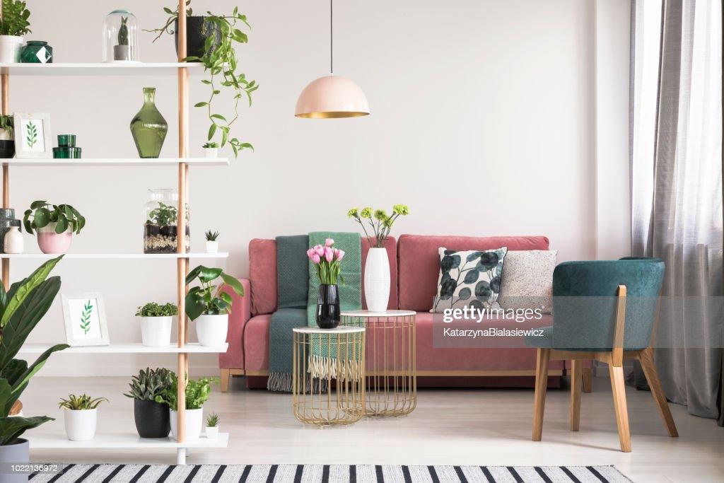 Echte foto van een groene fauteuil, roze Bank, gouden tafels met bloemen en houten rek met planten in botanic woonkamer interieur : Stockfoto