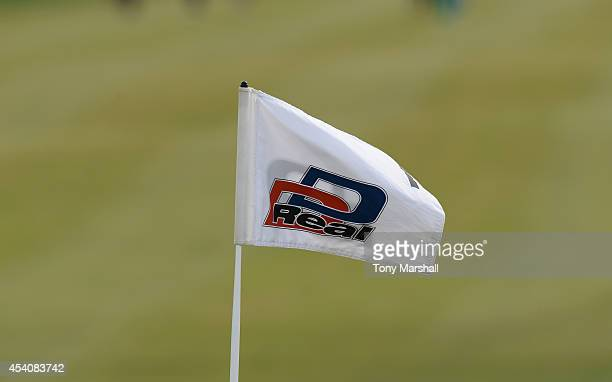 Real pin flag on the 1st green during day four of DD REAL Czech Masters at Albatross Golf Resort on August 24 2014 in Prague Czech Republic