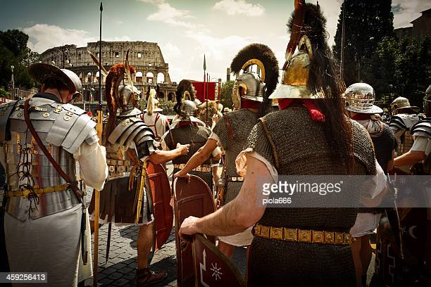 Real Roman Gladiators and Centurions in front of the Coliseum