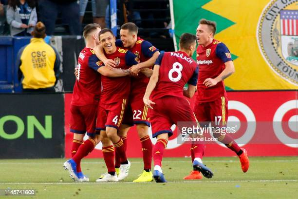 Real Salt Lake celebrates a goal during the second half against the Los Angeles Galaxy at Dignity Health Sports Park on April 28 2019 in Carson...