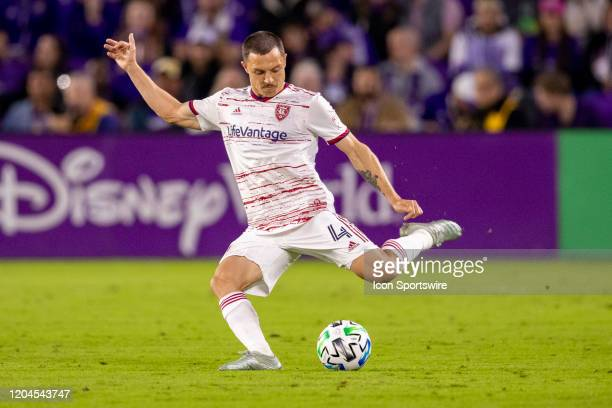 Real Salt Lake defender Donny Toia kicks the ball during the soccer match between Real Salt Lake and Orlando City SC on February 29 at Exploria...