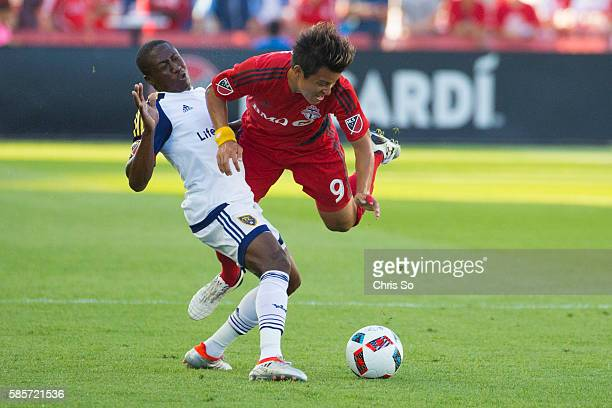 TORONTO ON AUGUST 3 2016 Real Salt Lake Demar Phillips left collides with Toronto FC Tsubasa Endoh in first half action at BMO Field where Toronto FC...