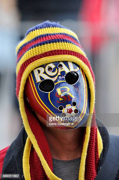 Real Salt Lake fan wears a mask with the team's logo during their game against the Philadelphia Union at Rio Tinto Stadium on March 14 2015 in Sandy...