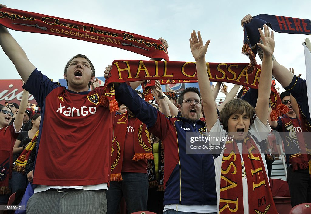Real Salt Lake fans cheer for their team as they take on the Portland Timbers at Rio Tinto Stadium April 19, 2014 in Sandy, Utah.