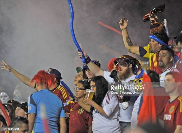Real Salt Lake fans cheer on their team during the 2013 US Open Cup Final against DC United at Rio Tinto Stadium October 1 2013 in Sandy Utah