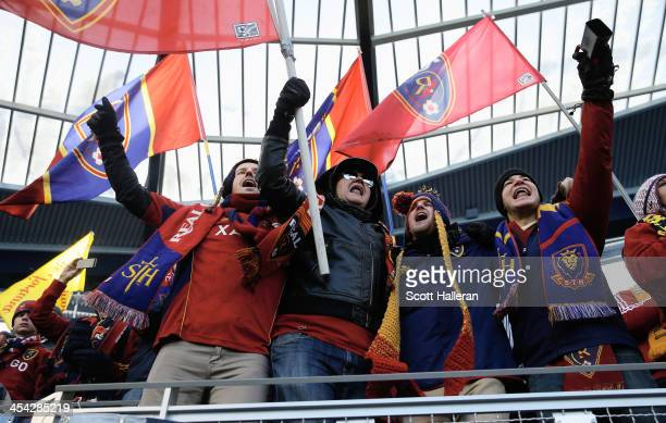 Real Salt Lake fans wait in the stands before of the start of the game against Sporting Kansas City in the 2013 MLS Cup at Sporting Park on December...