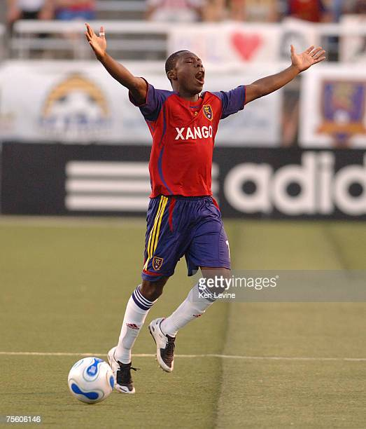 Real Salt Lake forward Freddie Adu raises his arms in disbelief after he was called for a foul against FC Dallas at Rice-Eccles Stadium in Salt Lake...