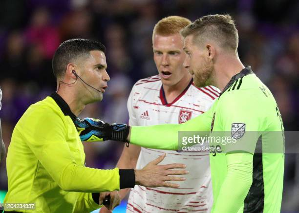 Real Salt Lake goalkeeper Zac MacMath right argues with a game official during action against Orlando City at Exploria Stadium in Orlando Fla on...