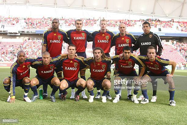 Real Salt Lake lineup prior to the game against Chivas USA at Rio Tinto Stadium November 1 2008 during the 2008 MLS Playoffs in Sandy Utah Real...