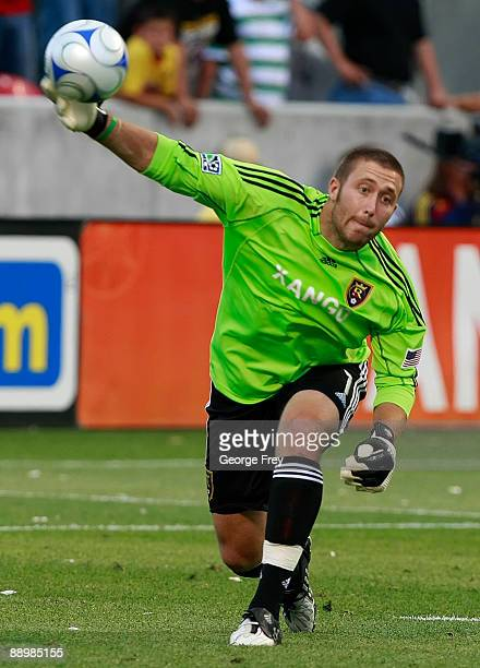 Real Salt Lake's Chris Seitz tosses the ball down field in a game against Club America during the second half at Rio Tinto Stadium July 11 2009 in...