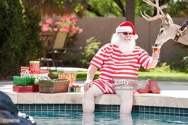 real santa and reindeer relaxing by the pool - santa stock photos and pictures