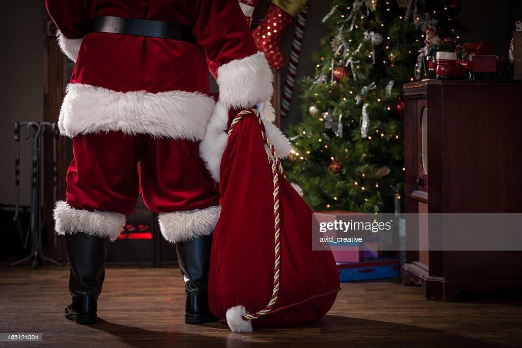 Real Santa with Bag of Gifts : Stock Photo
