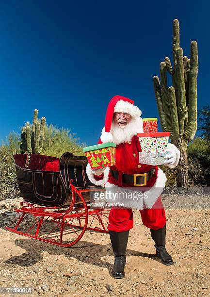 Real Santa with Presents in the Desert