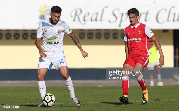 Real SC midfielder Paulo Silva from Portugal with SC Braga B forward Francisco Trincao from Portugal in action during the Segunda Liga match between...