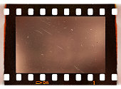 real scan of old 35mm filmstrip or photo frame with burned edges on white background