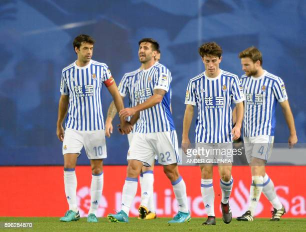 Real Scoiedad players celebrate their second goal during the Spanish league football match Real Sociedad vs Sevilla FC at the Anoeta stadium in San...