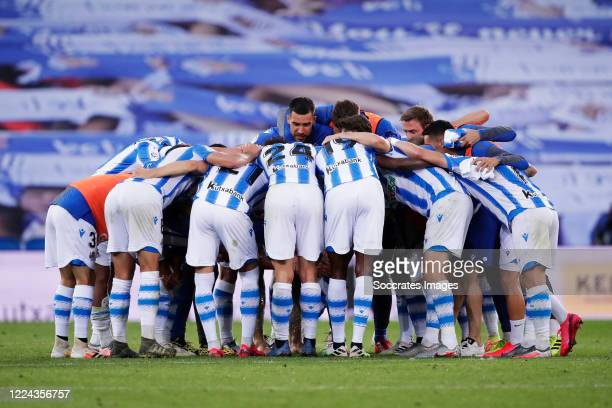 Real Sociedad celebrates the victory during the La Liga Santander match between Real Sociedad v Espanyol at the Estadio Anoeta on July 2, 2020 in San...