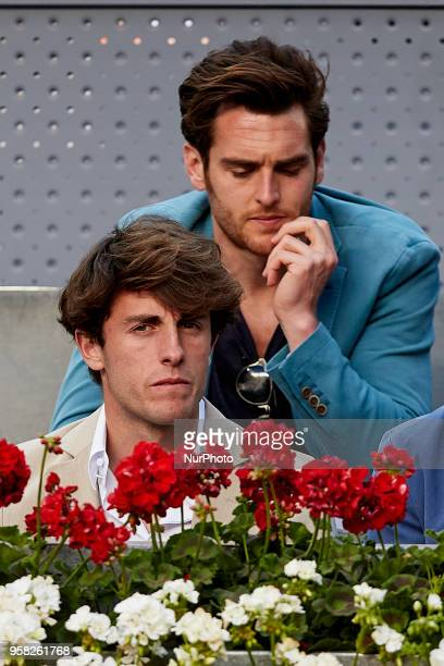 Real Sociedad football player Alvaro Odriozola attends day nine of the Mutua Madrid Open tennis tournament at the Caja Magica on May 13 2018 in...