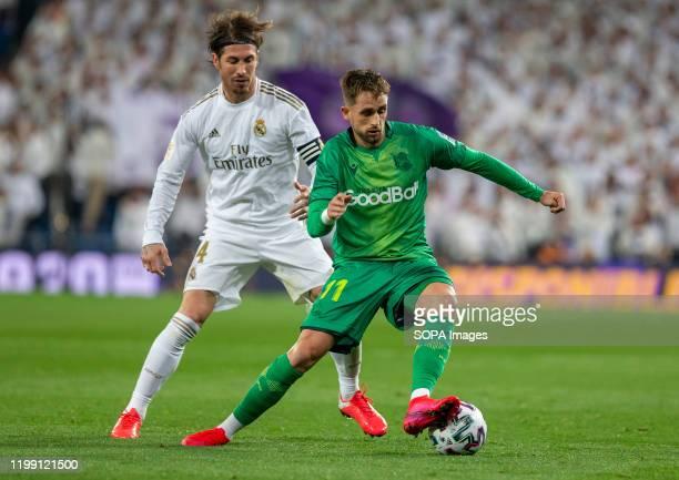 Real Sociedad's Adnan Januzaj seen in action during the Spanish quarterfinal Copa del Rey match between Real Madrid and Real Sociedad at Santiago...