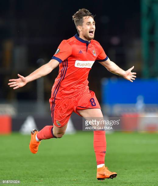 Real Sociedad's Belgian midfielder Adnan Januzaj celebrates after scoring his team's second goal during the UEFA Europa League first leg round of 32...