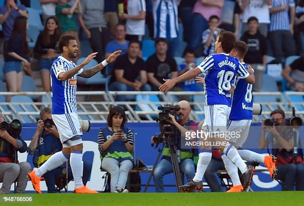 Real Sociedad's Brazilian forward Willian Jose celebrates scoring the opening goal during the Spanish league football between Real Sociedad and Club...