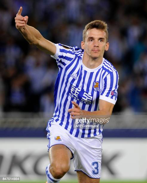 Real Sociedad's defender from Spain Diego Llorente celebrates a goal during the Europa League football match Real Sociedad vs Rosenborg BK at the...