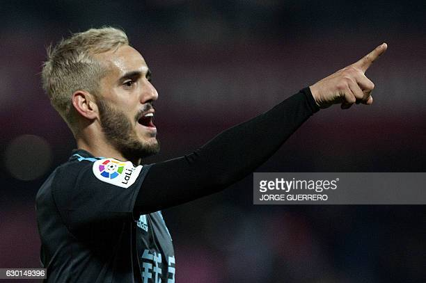 Real Sociedad's forward Juanmi celebrates a goal during the Spanish league football match Granada CF vs Real Sociedad at Nuevo Los Carmenes stadium...
