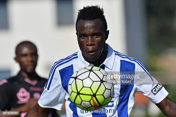 Real Sociedad's midfielder Bruma controls the ball during the friendly football match between Toulouse and Real Sociedad in SaintJeandeLuz on July 25...