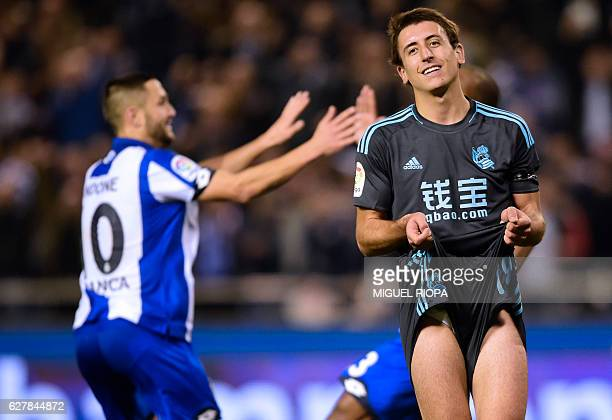TOPSHOT Real Sociedad's midfielder Mikel Oyarzabal reacts to Deportivo Coruna's goal during the Spanish league football match RC Deportivo de la...
