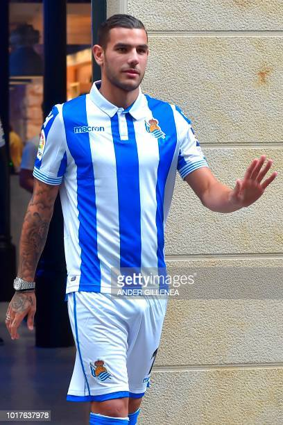 Real Sociedad's new French defender Theo Hernandez arrives for his official presentation in the Spanish Basque city of San Sebastian on August 16 2018