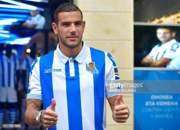 Real Sociedad's new French defender Theo Hernandez gives thumbs up during his official presentation in the Spanish Basque city of San Sebastian on...