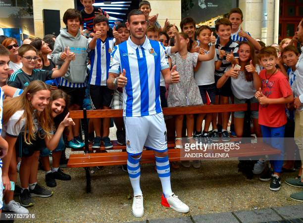 Real Sociedad's new French defender Theo Hernandez poses during his official presentation in the Spanish Basque city of San Sebastian on August 16...