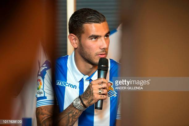 Real Sociedad's new French defender Theo Hernandez speaks during his official presentation in the Spanish Basque city of San Sebastian on August 16...