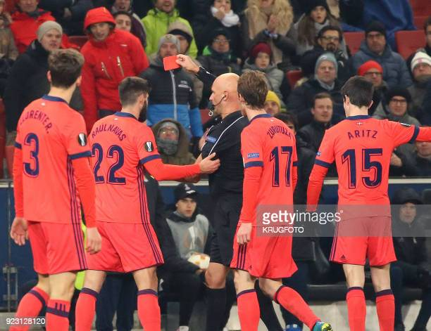 Real Sociedad's Raul Rodriguez Navas receives a red card from Russian referee Sergei Karasev during the UEFA Europa League second leg round of 32...