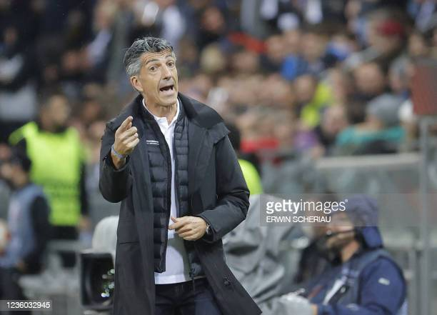 Real Sociedad's Spanish coach Imanol Alguacil reacts from the sidelines during the UEFA Europa League group B football match between SK Sturm Graz...