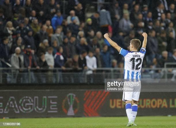 Real Sociedad's Spanish defender Aihen Munoz celebrates during the UEFA Europa League group B football match between SK Sturm Graz and Real Sociedad...