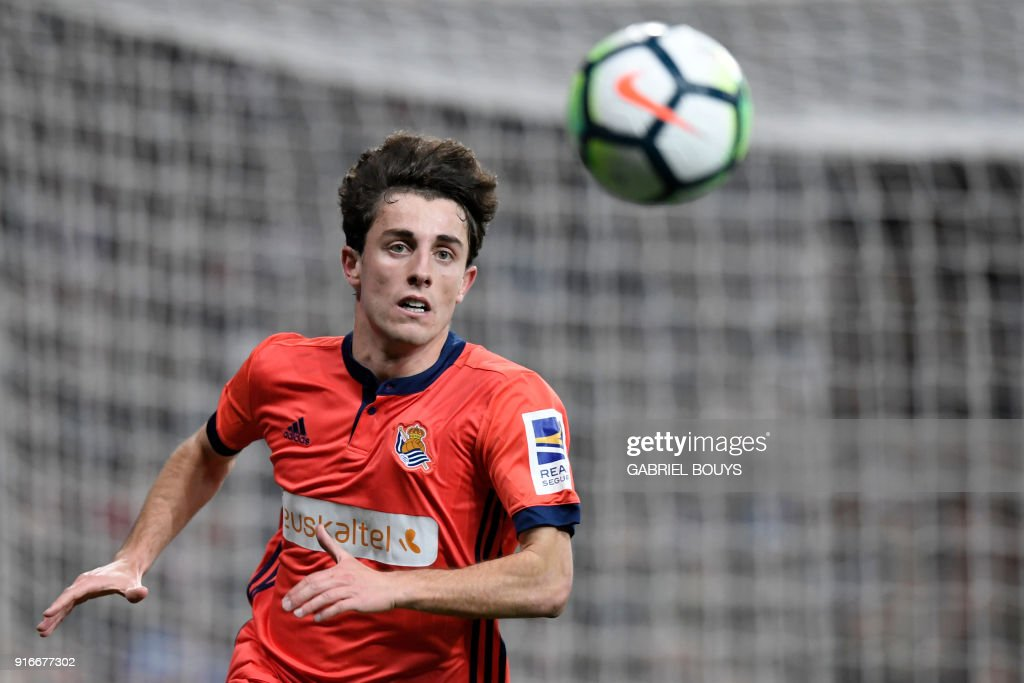 Real Sociedad's Spanish defender Alvaro Odriozola eyes the ball during the Spanish league football match between Real Madrid CF and Real Sociedad at the Santiago Bernabeu stadium in Madrid on February 10, 2018. /