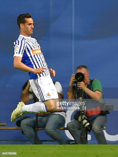Real Sociedad's Spanish forward Juanmi celebrates scoring his team's second goal during the Spanish league football between Real Sociedad and Club...