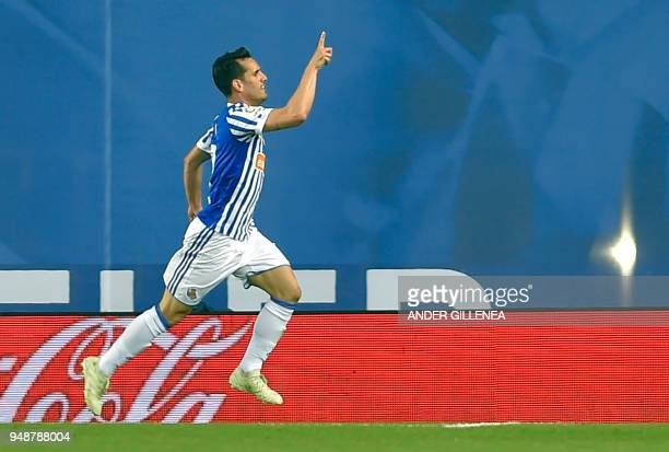 Real Sociedad's Spanish midfielder Juanmi celebrates scoring his team's second goal during the Spanish league football between Real Sociedad and Club...