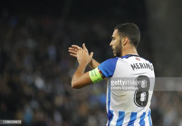 Real Sociedad's Spanish midfielder Mikel Merino reacts during the UEFA Europa League group B football match between SK Sturm Graz and Real Sociedad...