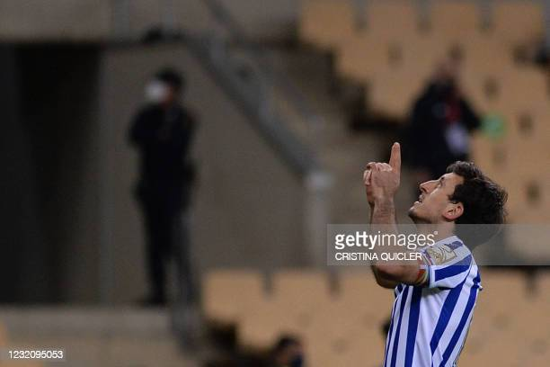 Real Sociedad's Spanish midfielder Mikel Oyarzabal celebrates after scoring a goal during the 2020 Spanish Copa del Rey final football match between...