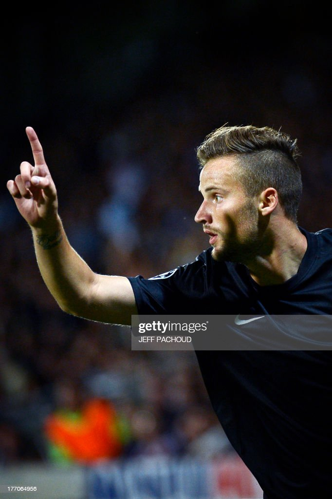 Real Sociedad's Swiss forward Haris Seferovic celebrates after scoring a goal during the first leg of the UEFA Champions League's playoffs football match Olympique Lyonnais vs Real Sociedad on August 20, 2013 at the Gerland stadium in Lyon, eastern France.