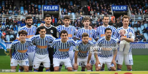 Real Sociedad´s teammate pose for the media before the Spanish league football match between Real Sociedad and Levante at the Anoeta Stadium on 18...