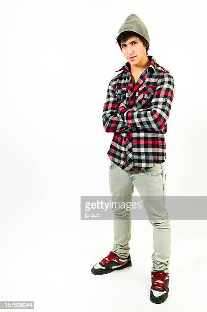 Real teenager standing and looking at camera