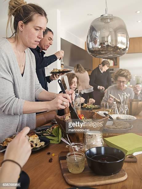 "real three generations family big dinner at home. - ""martine doucet"" or martinedoucet imagens e fotografias de stock"