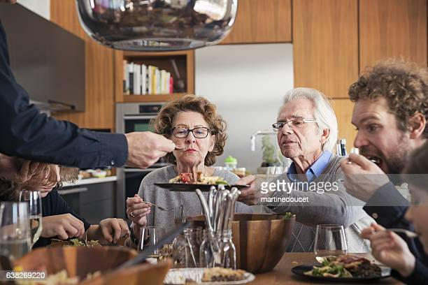 "real three generations family big dinner at home. - ""martine doucet"" or martinedoucet stockfoto's en -beelden"
