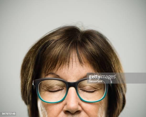Real tired senior woman portrait