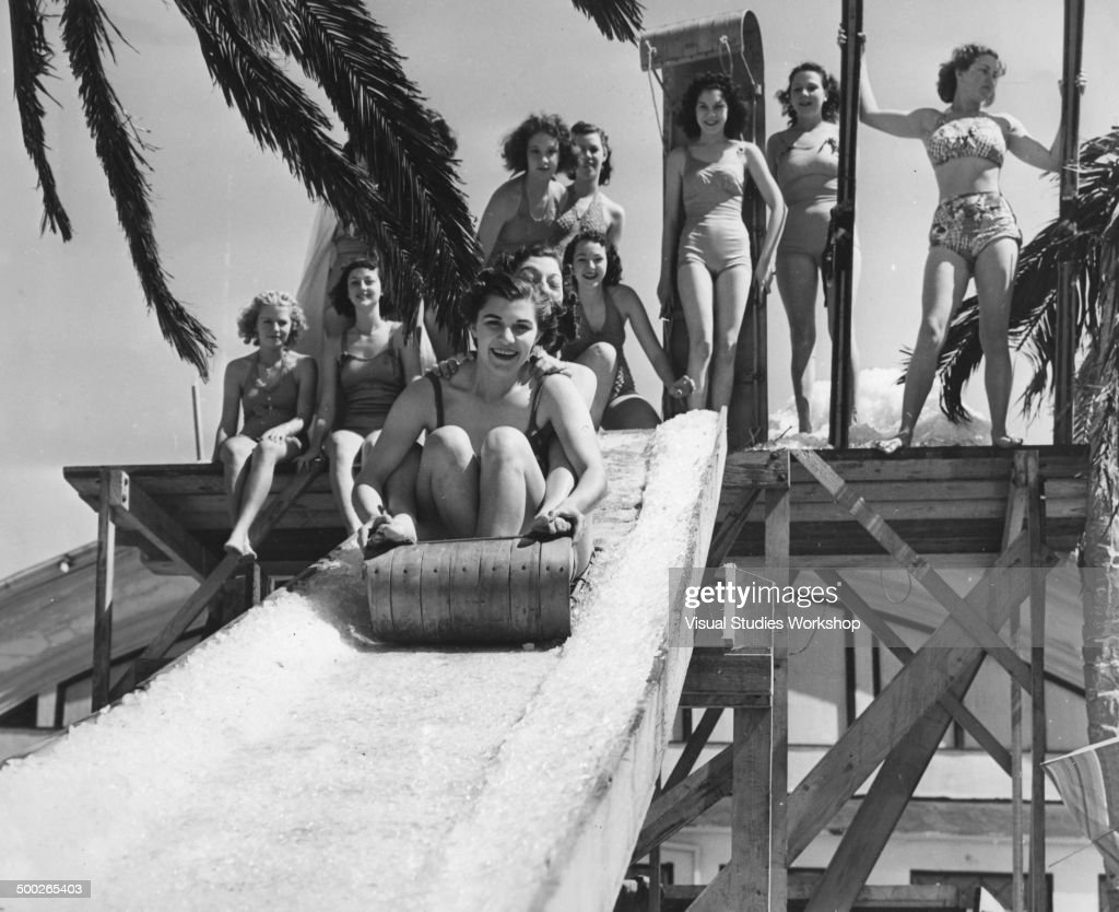 Real toboggans and a real snow slide were used in the unusual beach event, Venice, California, early to mid 20th century. But from then on the sport lost its wintery aspect for the participants wore bathing suites and the toboggans slid right out into the ocean.