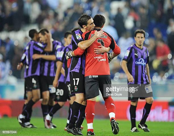 Real Valladolid goalkeeper Justo Villar celebrates with teammates after his teams drew 11 against Espanyol during the La Liga match between Espanyol...